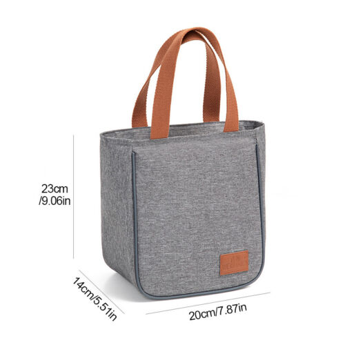 Portable Lunch Bags Insulated Canvas Box Tote Bag Cooler Thermal Food Picnic Bag