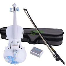 New 4/4 White Color Flower Pattern Acoustic Violin + Case+ Bow + Rosin -DS-005