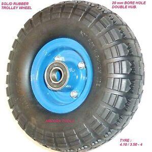 TROLLEY-WHEEL-10-INCH-OD-DOUBLE-HUB-SOLID-FLAT-FREE-WHEEL-20mm-BORE-NEW