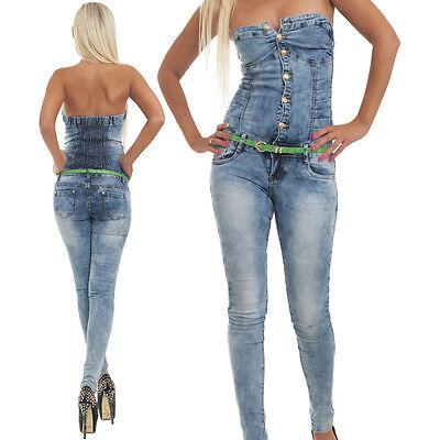 5659 Jeans Overall Hosenanzug in Blau Hose in 5 Größen .