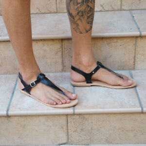 37472c2a5 Image is loading mens-genuine-leather-T-strap-sandals-Roman-barefoot-
