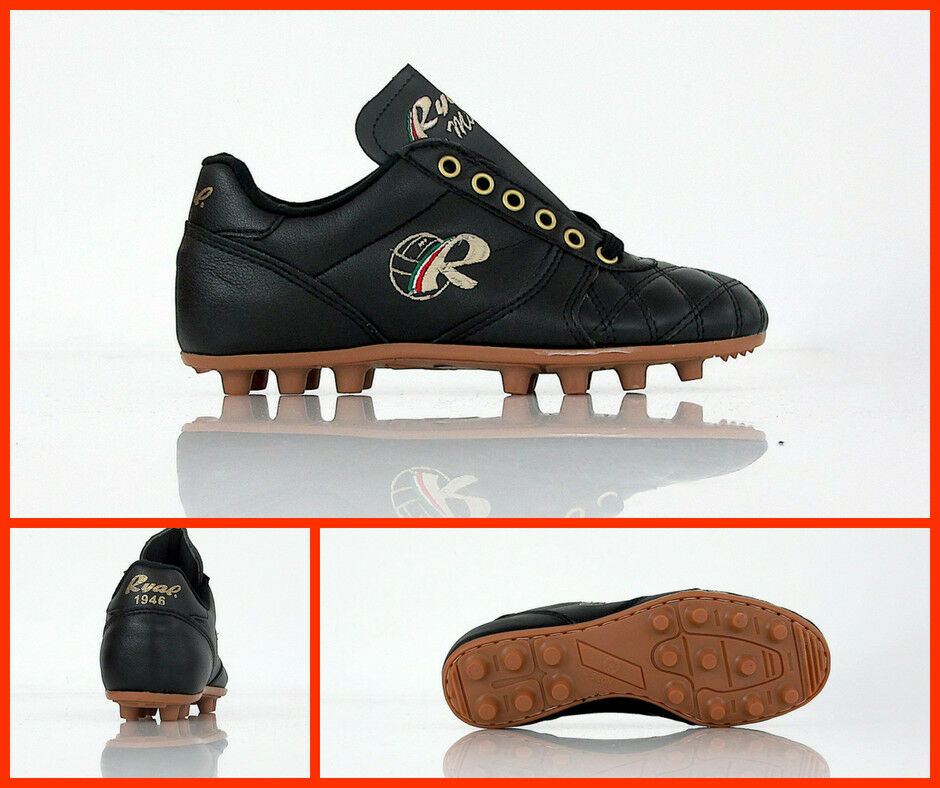 RYAL scarpe calcio bimbo artigianale SU MISURA JR FG col.NERO