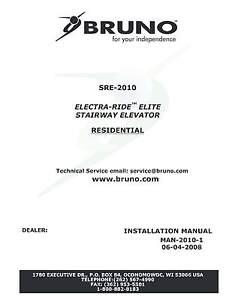 INSTALLATION & OWNER'S  MANUAL CD Copy - Bruno SRE-2010 Elite Stair Lift