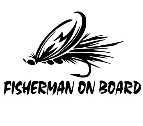fisherman on board trout fly fishing decal car truck boat bumper window sticker