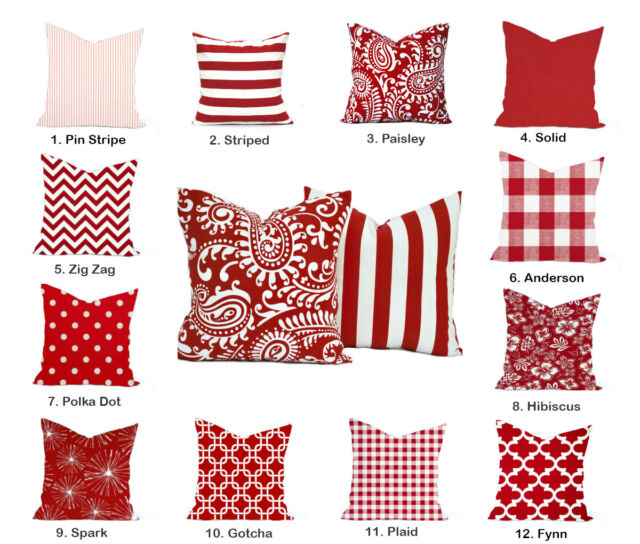 Red decorative throw pillow cover Paisley Polka dot Striped Floral Plaid Solid
