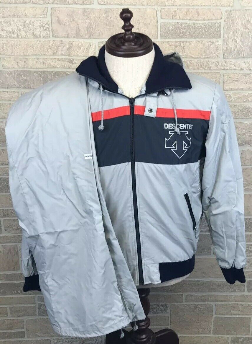Vintage Descente Snow Suit Ski Unisex Grey Spell  Out 2 Piece Size S  high quality & fast shipping