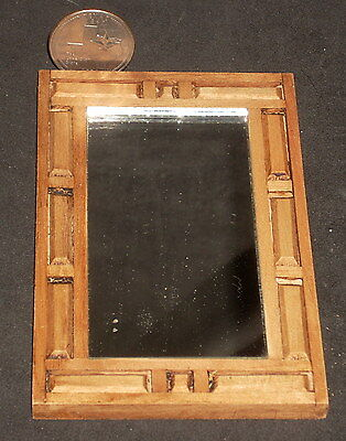 Mexican Wood Mirror Hacienda Furniture 1:12 #MAF2226 Miniature Hand Carved