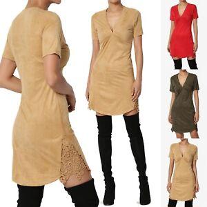 TheMogan Faux Suede V-Neck Short Sleeve Shift Dress W Boho Lace ... 5fd03e5ef