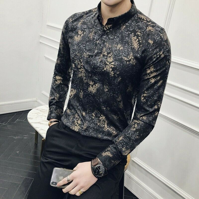 ca88689ea96 Shirts Printed Floral Casual Long Sleeve Korean Slim Fit New Lapel ...