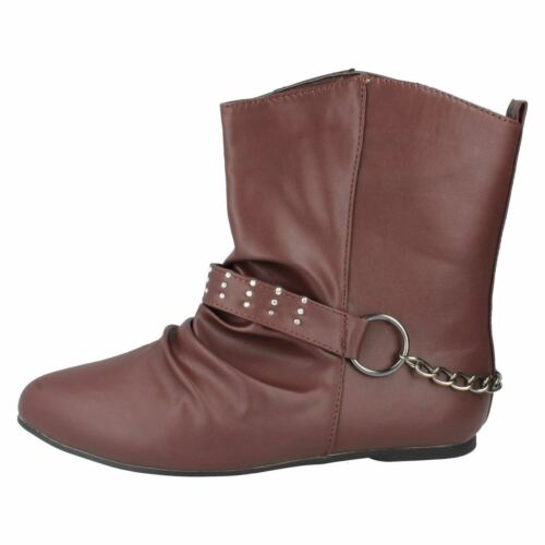 SALE F4360 LADIES SPOT ON PULL ON RUCHED DETAIL CASUAL FLAT ANKLE WINTER BOOTS