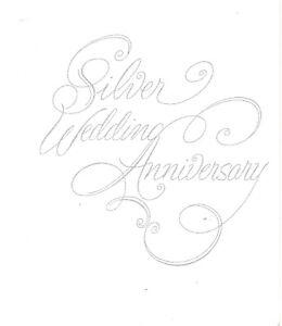Image is loading 25th-Wedding-Anniversary-Invitations -silver-script-silver-print-