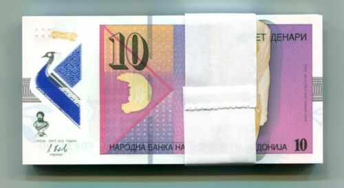 MACEDONIA 10 DENARI 2018 P-NEW UNC POLYMER BUNDLE 100 PCS