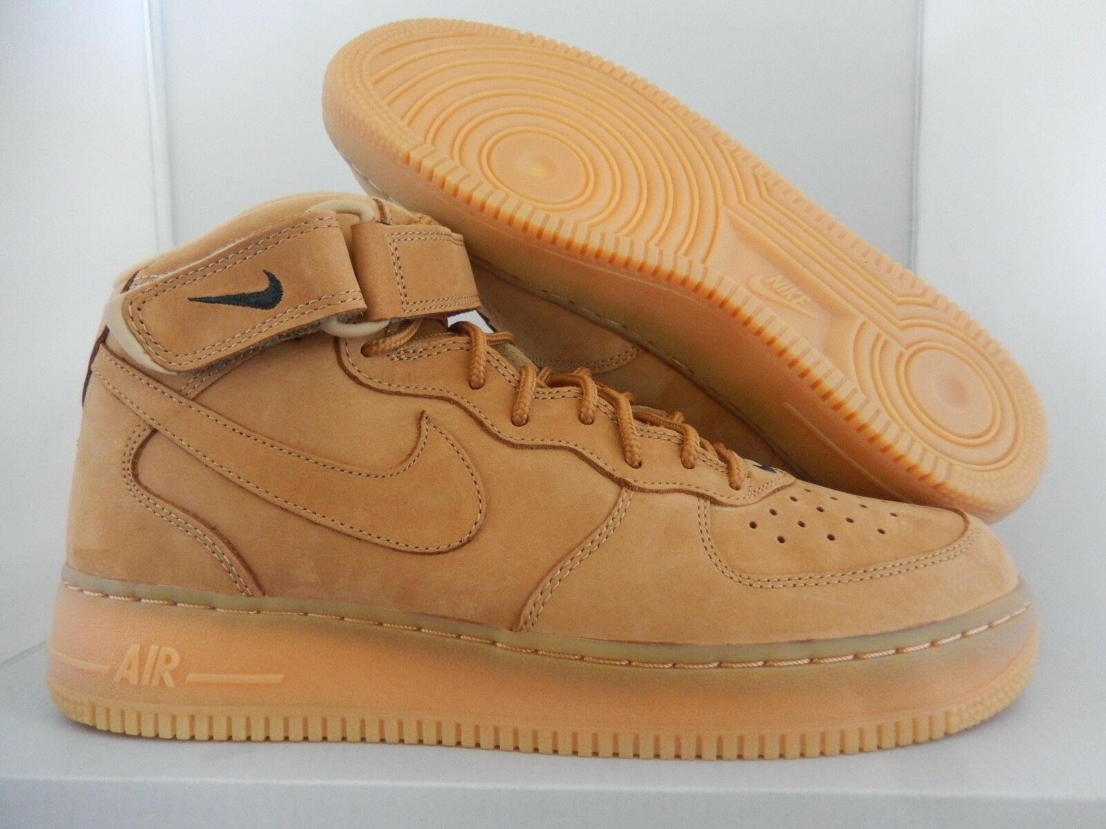 NIKE AIR FORCE 1 MID 07 PRM PREMIUM QS FLAX-WHEAT SZ 8.5 RARE  [715889-200]