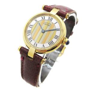 Cartier-Vermeil-Must-de-Vendome-Quarz-Armbanduhr-Watch-Lizard-Guertel-925-m15152