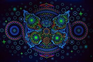 Details About Trippy Psychedelic Backdrop Psytrance Deco UV Active Bohemian  Wall Decor Yoga