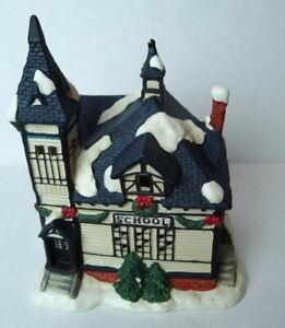 Christmas-Victorian-Village-School-House-Grandeur-Noel-1995-Porcelain