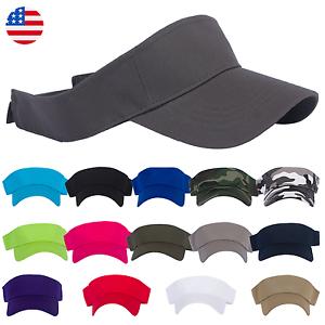 9166a46f2cd Sports Tennis Golf Sun Visor Hat Hats Adjustable Plain Bright Color ...