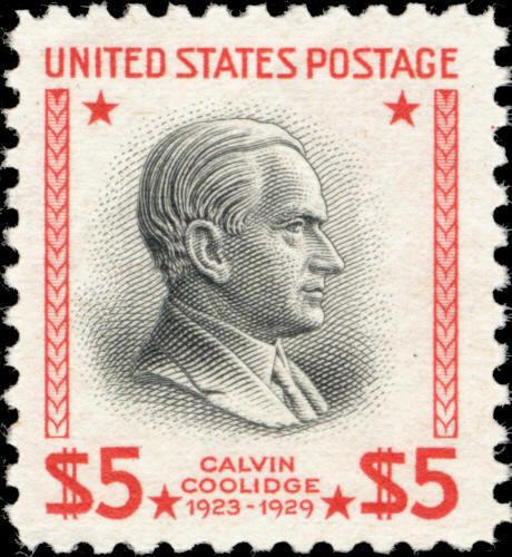 1938 $5 Calvin Coolidge, 30th President Scott 834 Mint