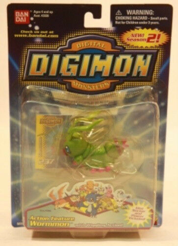 "Digimon 3/"" Action Feature Wormmon Figure by Bandai MOC"