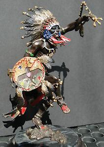 INDIAN-CHIEF-Bronze-Sculpture-Statue-Art-Warrior-Spirit-American-Native-Figure
