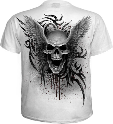 SPIRAL DIRECT ASCENSION WhiteT-Shirt,Biker//Skull//Tattoo//Wings//Skull/&Rose//Top//Tee