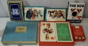 Playing-Cards-Lot-7-vintage-Congress-Peanuts-Horses-Coast-guard-dog-swiss