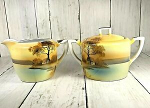 NORITAKE-China-Tree-In-The-Meadow-Lidded-Sugar-And-Creamer-Vintage