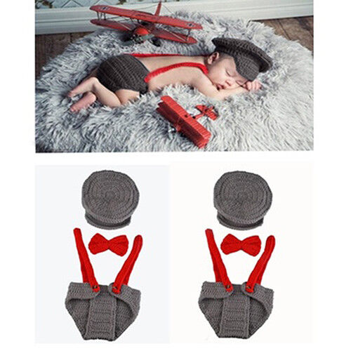 AM/_ NEWBORN BABY GIRL BOY KNIT HAT BOW TIE OVERALL PHOTOGRAPHY PROP SUIT CLA