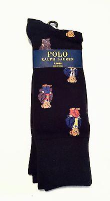 Polo Ralph Lauren 2 Pairs Socks Black Teddy Bear & Solid Black Pony Logo NWT