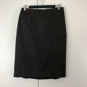Ojay-Womens-Skirt-Size-10-Brown-Wool-Stretch-Straight-Work-Lined