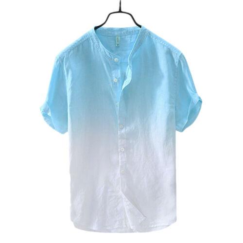 Men/'s Short Sleeve Tie Dye T-Shirt Button Front Shirt Summer Holiday Casual Tops