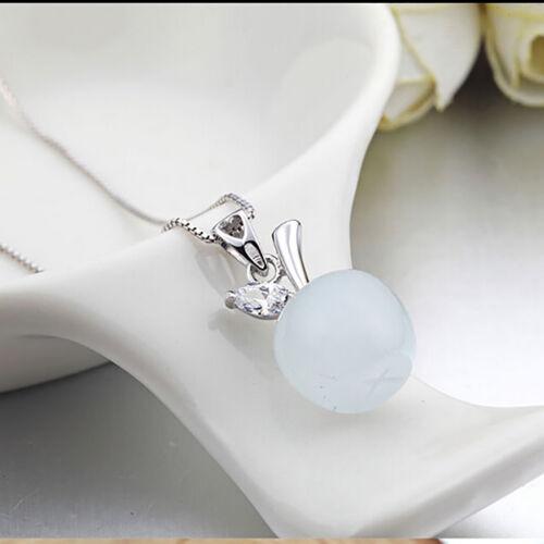 925 SILBER Kette Halsketten Opal Anhänger Mondstein Katzenauge AAA Zirkonia NEU