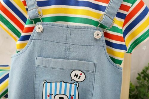 Stripe Tops Overalls Infant Clothes Suit Newborn Baby Boy Clothing Summer Infant