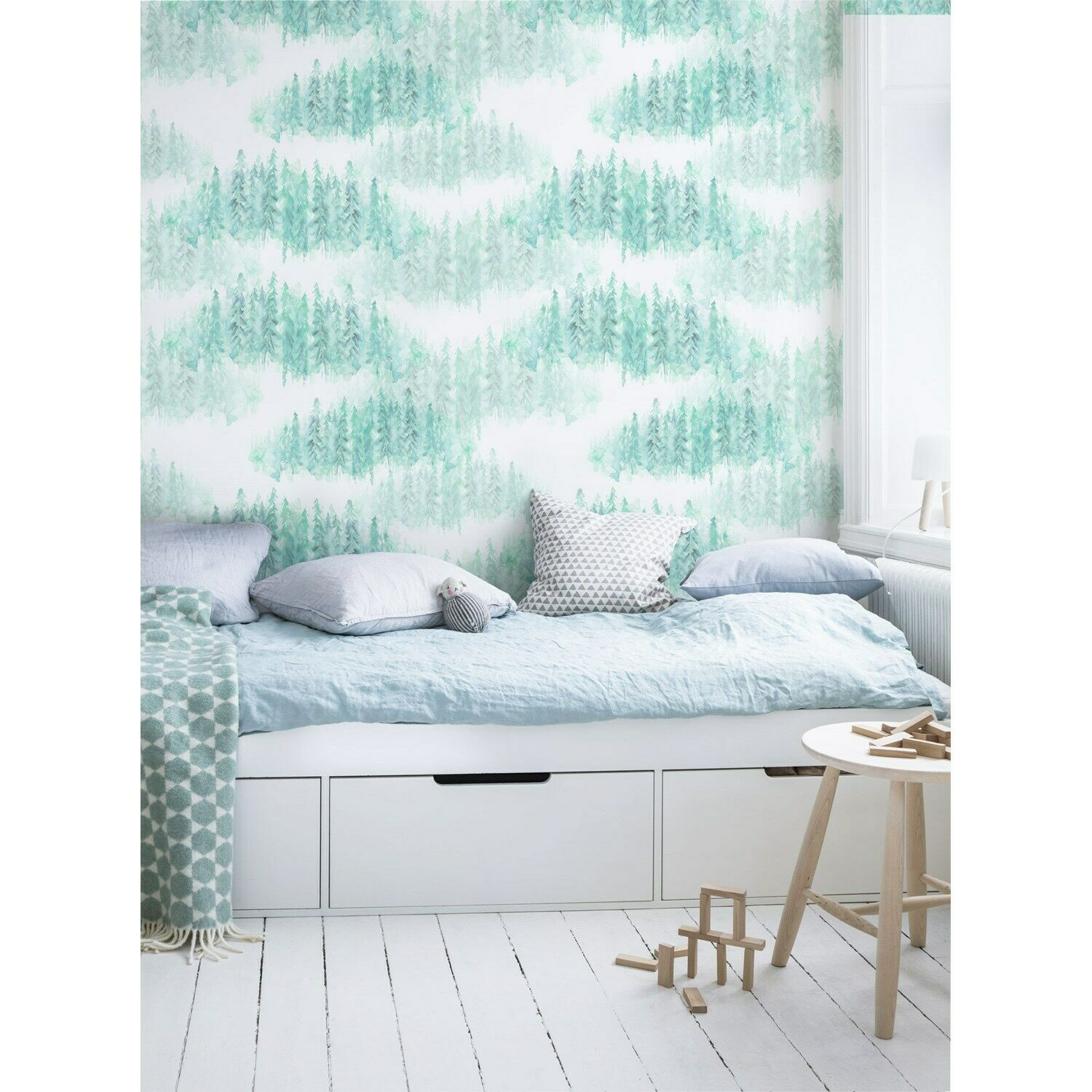 Bright Forest removable wallpaper Grün Nature wall mural Trees decor
