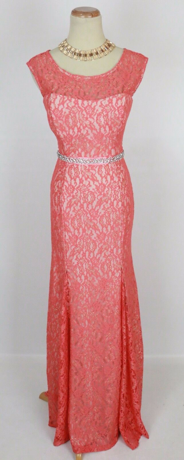 Sequin Heart Full Length Junior Cocktail Prom Formal Cruise Dress Größe 3 Orange