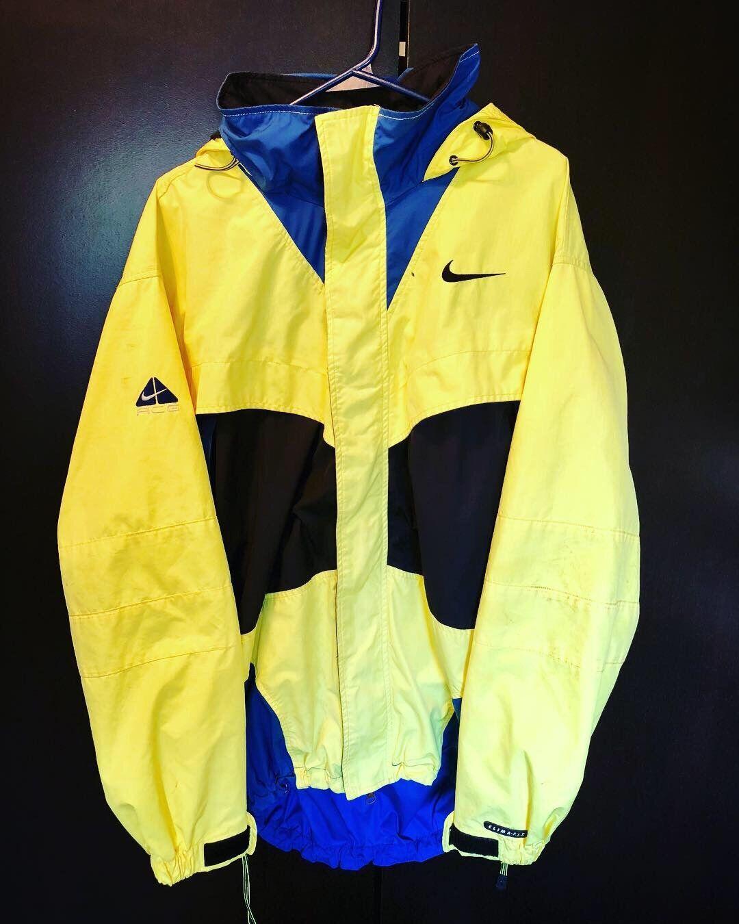 Vtg Nike ACG Retro Neon Yellow Volt Mens Jacket Large 90s