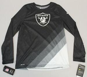 Oakland-Raiders-Boy-039-s-L-S-Nike-Sideline-Legend-Prism-T-Shirt-AB3-Black-Large-NWT