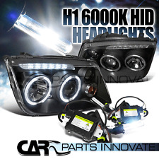 99-05 Jetta Bora Mk4 Black LED Halo Projector Headlights+H1 6000K HID Kit