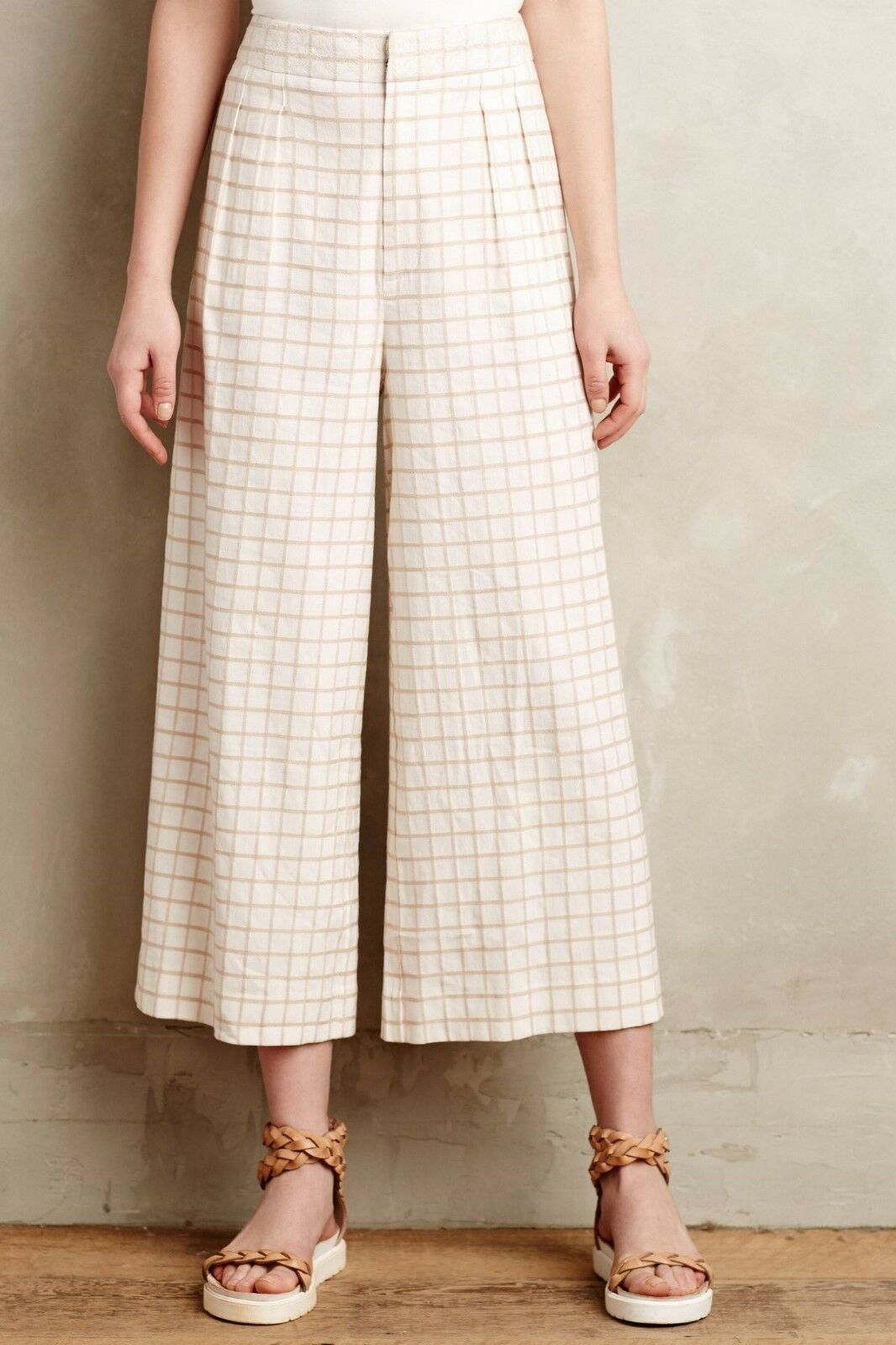 NEW Anthropologie Windowpane Culottes Cropped Wide-Legs by Elevenses Sz 0, 4, 6