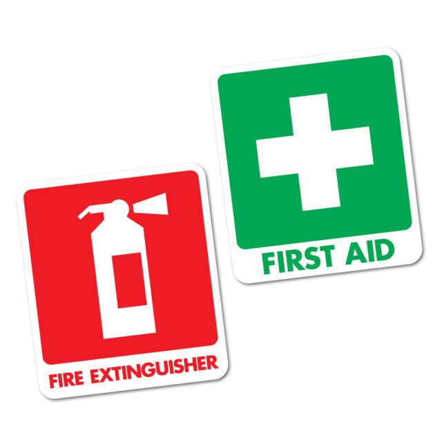 First Aid & Fire Extinguisher Sticker  95x111mm OHS