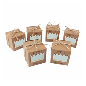50x Vintage Boy Prince Birthday Favor Box Candy Chocolate Bomboniere Gift Boxes