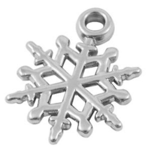 30 x Lightweight CCB Snowflake Pendant Charm Beads - Frozen - 20mm - lady-muck1