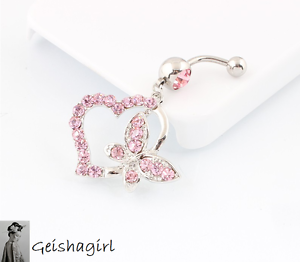 Stunning Pink Crystal Heart Butterfly Dangle Belly Navel Bar Surgical