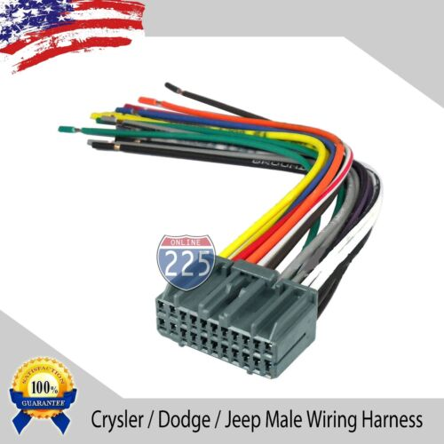 Car Stereo Wiring Harness Factory Radio Male Plug Chrysler Dodge Jeep 2002 /& UP