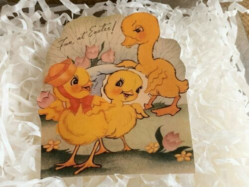 U Choose Size Vintage Repro 3 Chicks Fun at Easter Cardstock Decoration Card