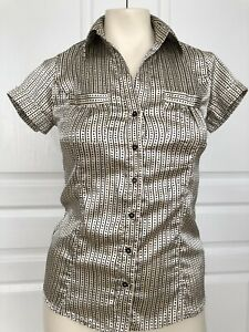 85438ae2294049 Zara Size Small New Without Tags Satin Gold Black Polkadot Blouse | eBay
