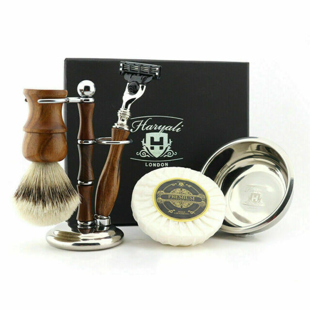 Silver Tip Badger Hair Brush Safety Razor Wood Wet Shaving Tools Luxury Grooming