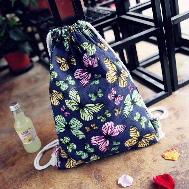 Women Backpack Floral Cat  Butterfly Canvas Backpack Drawstring Backpack Bookbag