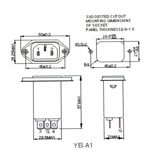 25~+85℃ UL CSA VDE RoHS YUNPEN 2pc EMI Filter IEC AC Inlet YB06A1 115V 250V 6A