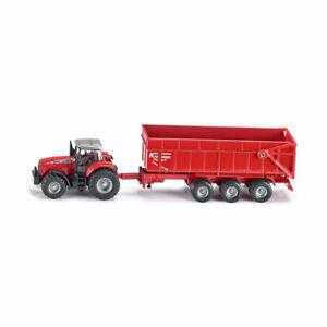 Siku-1844-Massey-Ferguson-Traktor-Anhaenger-rot-Massstab-1-87-Modellauto-NEU